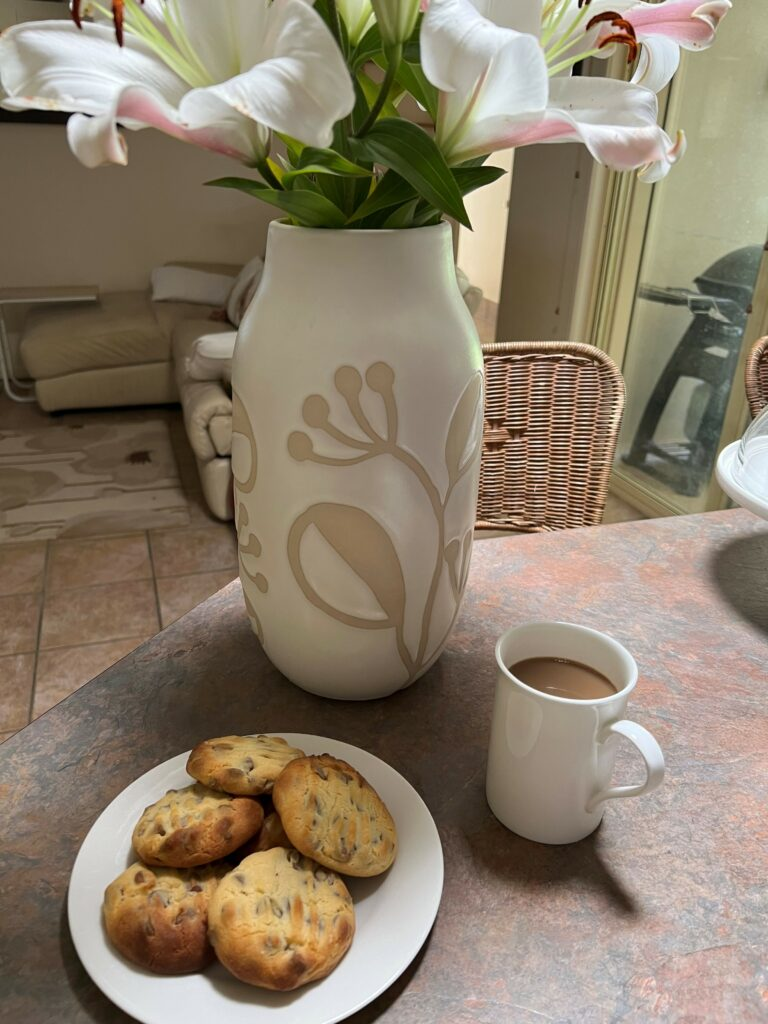 cup of coffee and plate of choc chip cookies