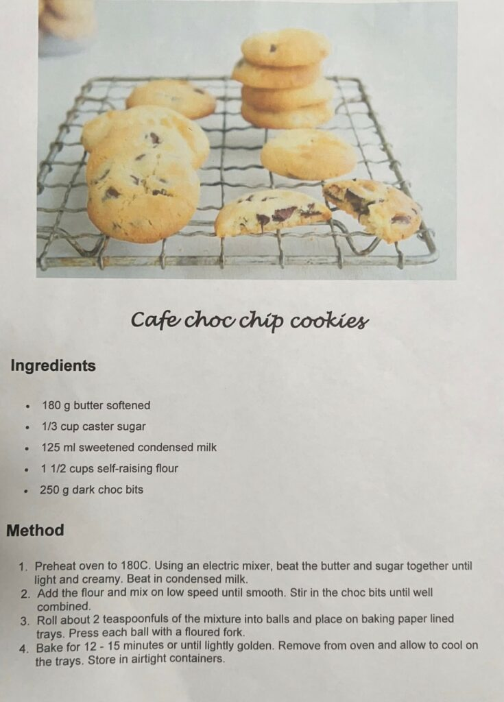 Vicki's cafe choc chip cookie recipe